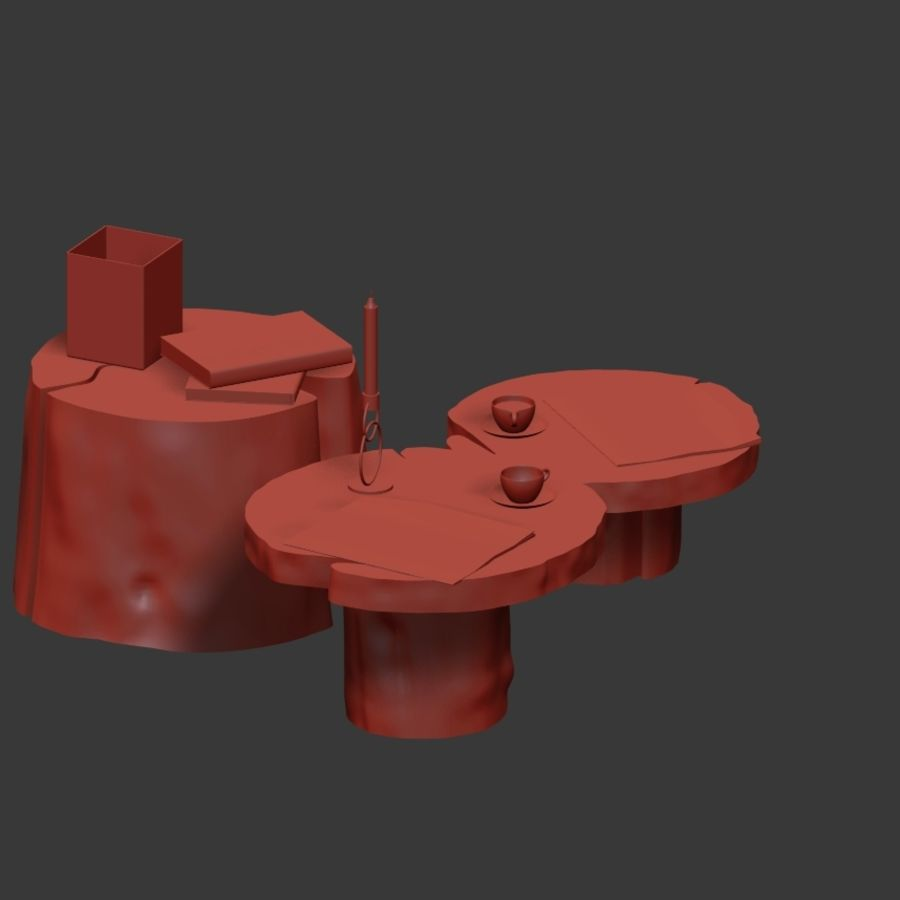 Slab and stump tables royalty-free 3d model - Preview no. 15