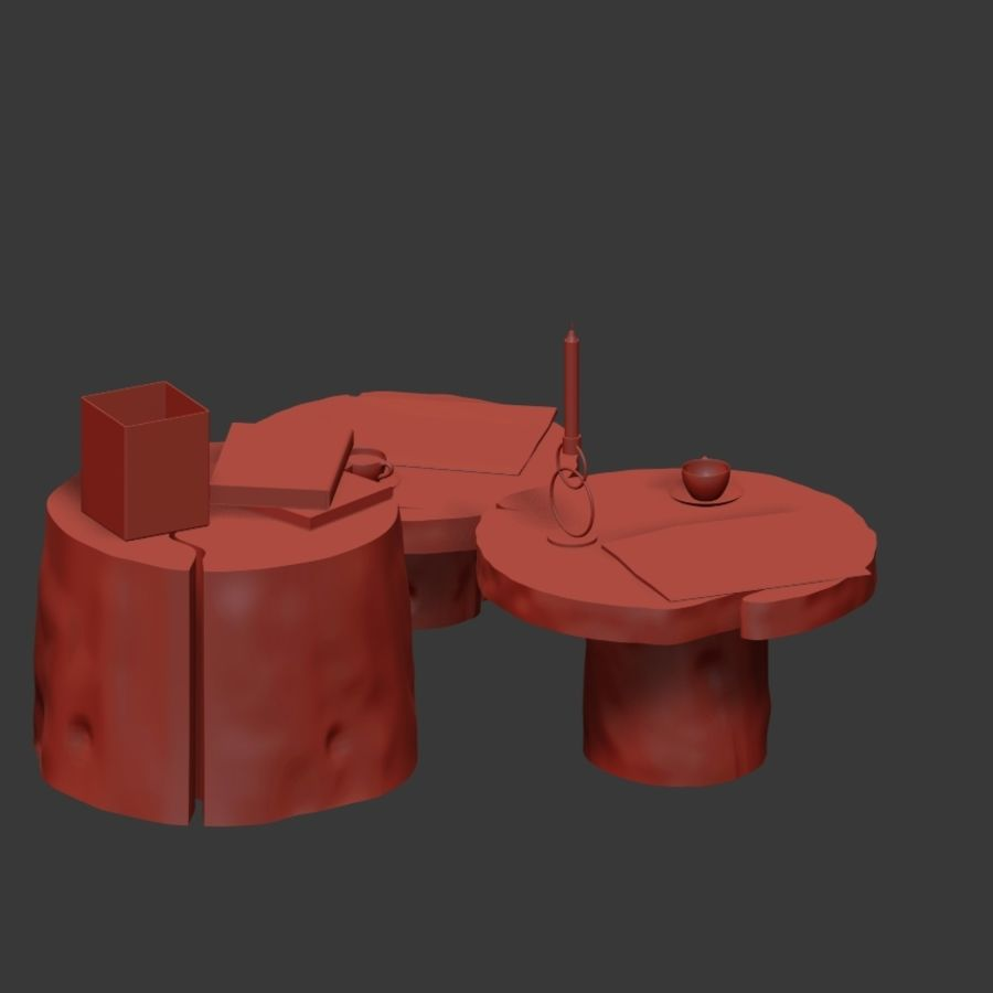 Slab and stump tables royalty-free 3d model - Preview no. 19