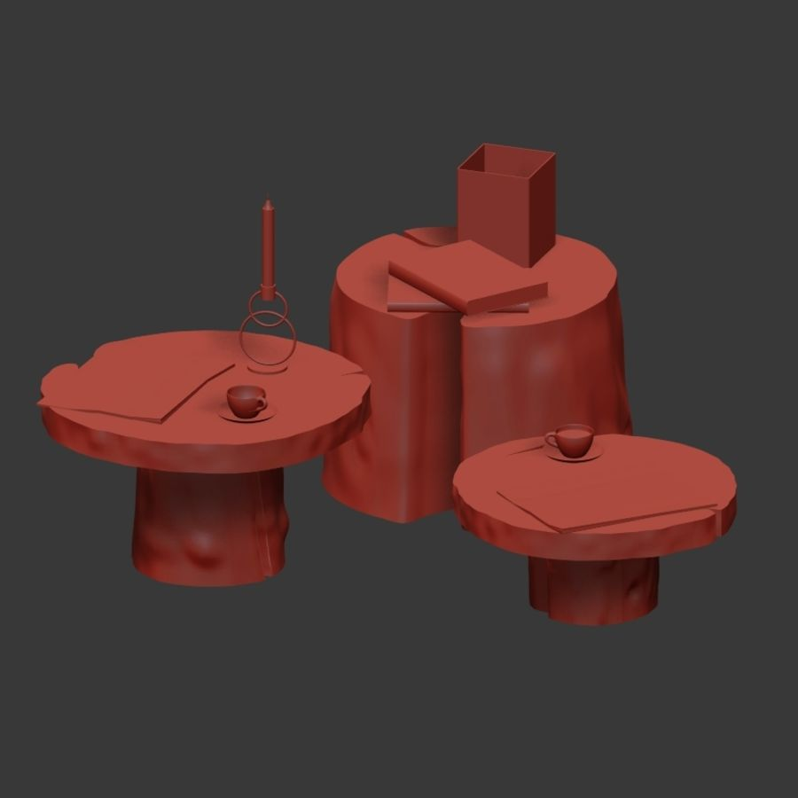 Slab and stump tables royalty-free 3d model - Preview no. 38