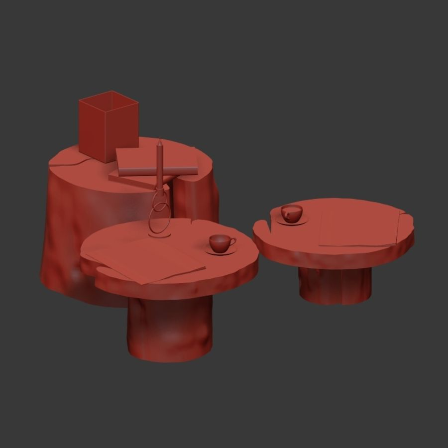 Slab and stump tables royalty-free 3d model - Preview no. 13