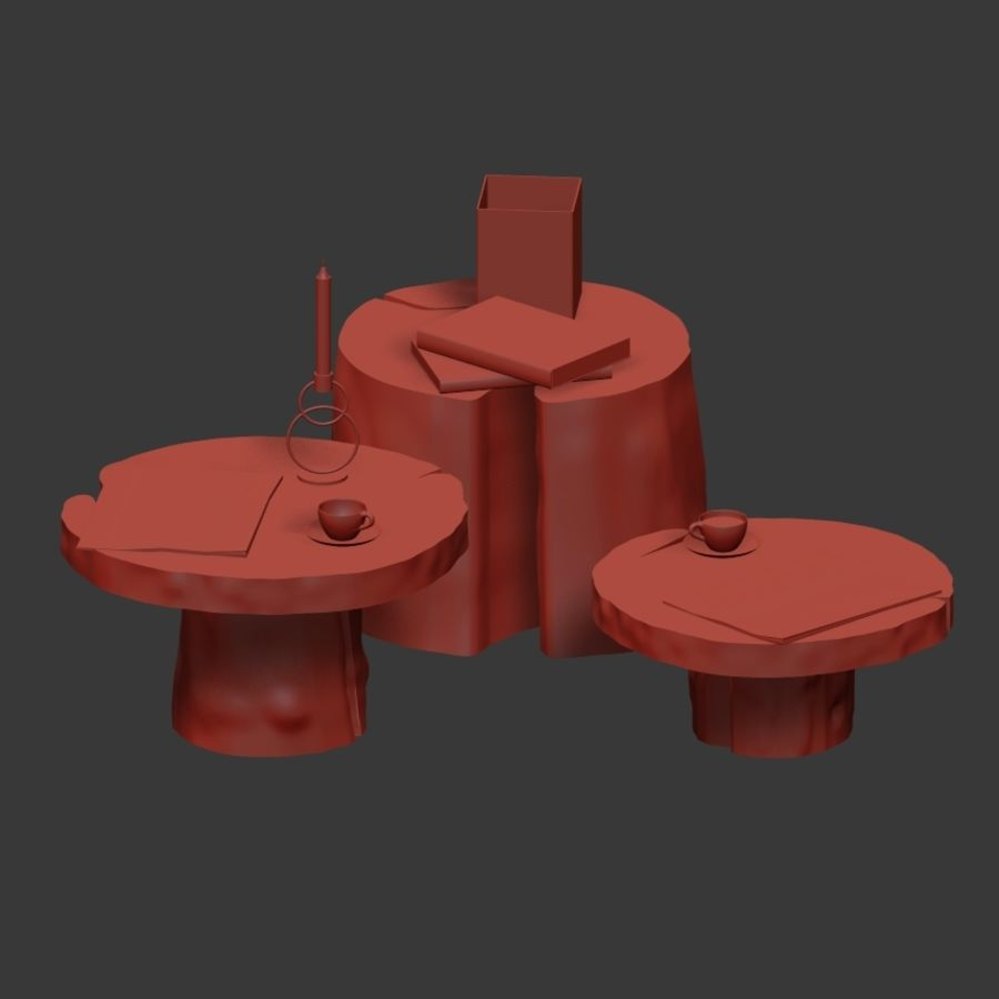 Slab and stump tables royalty-free 3d model - Preview no. 8