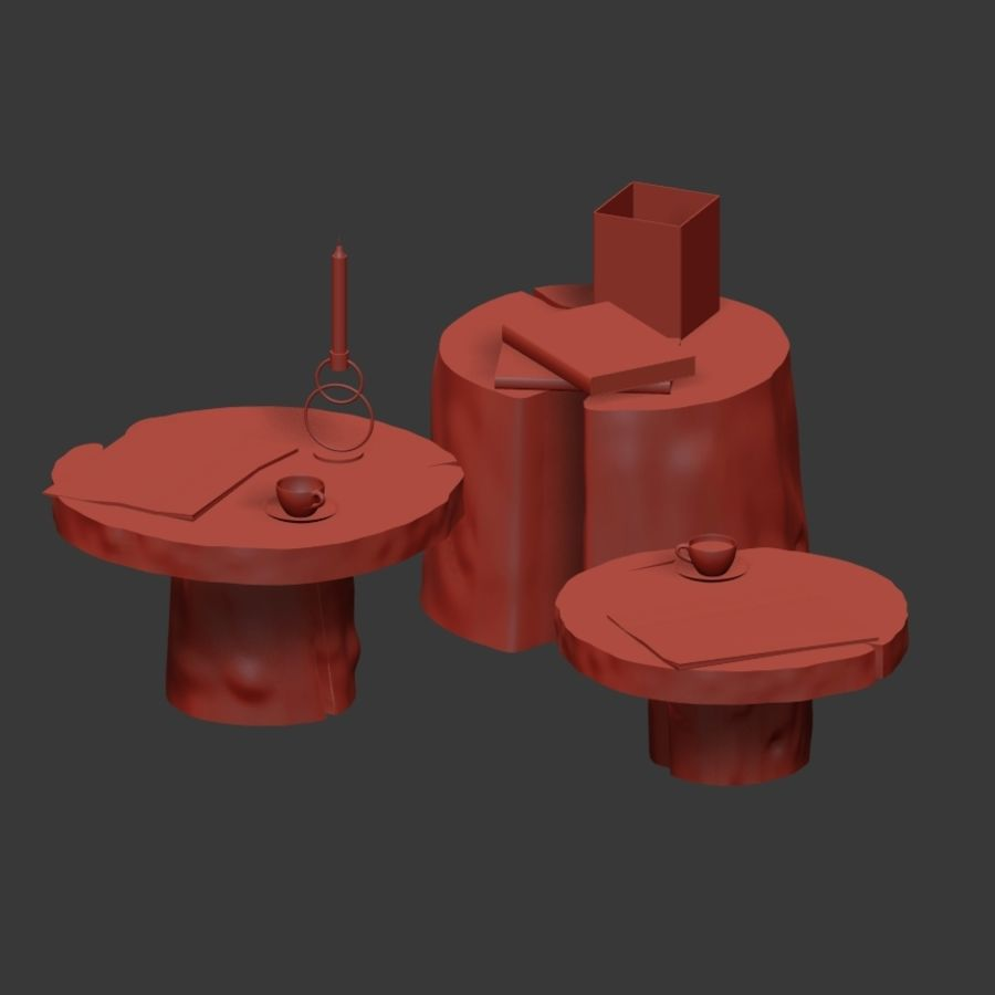 Slab and stump tables royalty-free 3d model - Preview no. 37