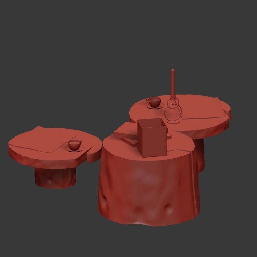 Slab and stump tables royalty-free 3d model - Preview no. 24