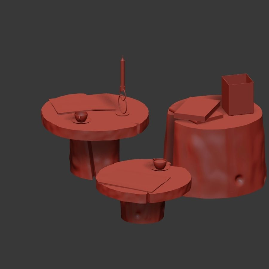 Slab and stump tables royalty-free 3d model - Preview no. 31