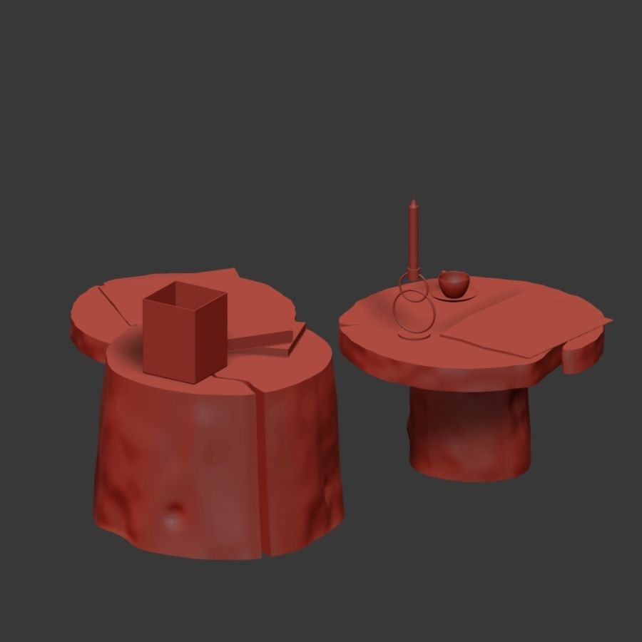 Slab and stump tables royalty-free 3d model - Preview no. 21