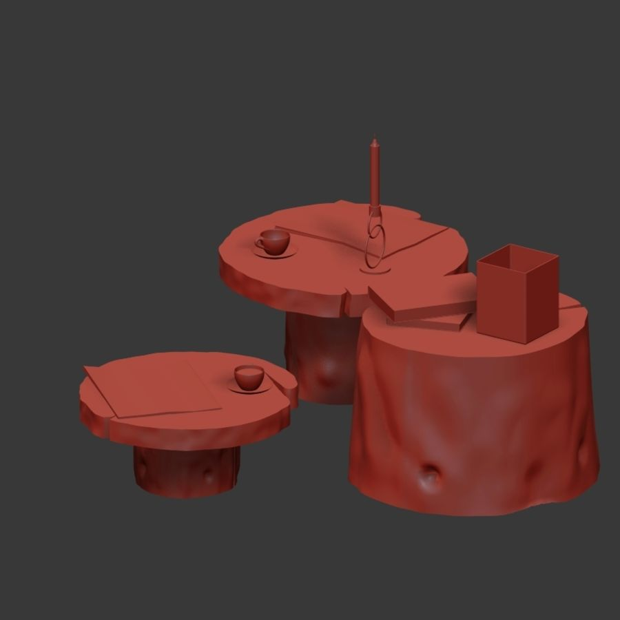 Slab and stump tables royalty-free 3d model - Preview no. 27