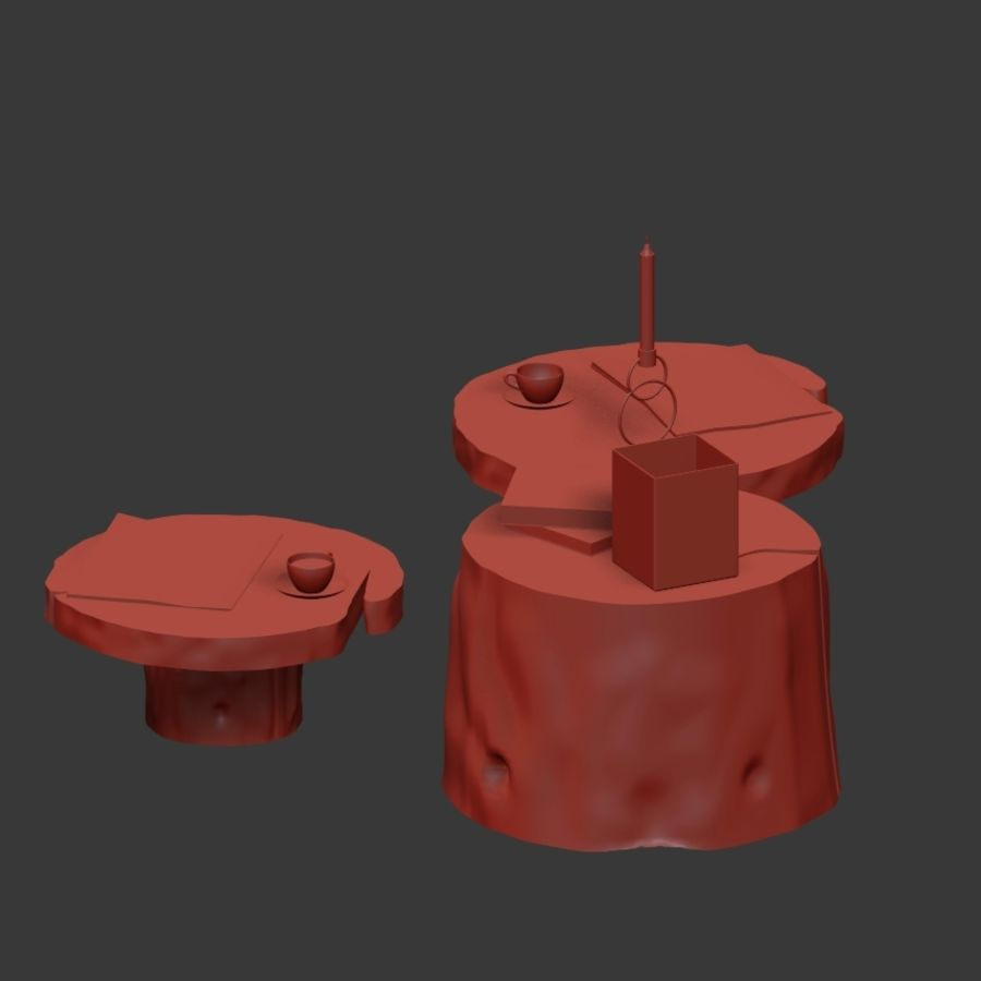 Slab and stump tables royalty-free 3d model - Preview no. 25