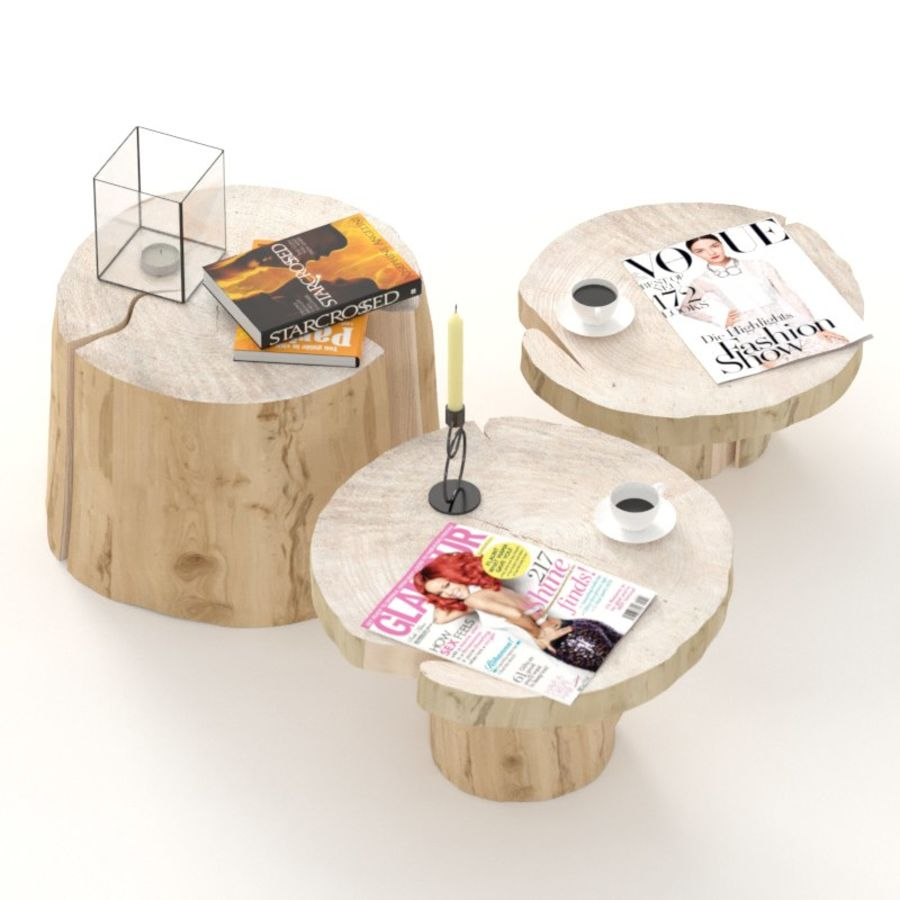Slab and stump tables royalty-free 3d model - Preview no. 2