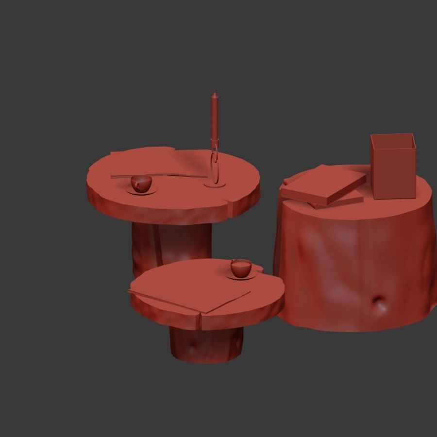Slab and stump tables royalty-free 3d model - Preview no. 30