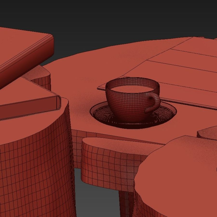 Slab and stump tables royalty-free 3d model - Preview no. 44