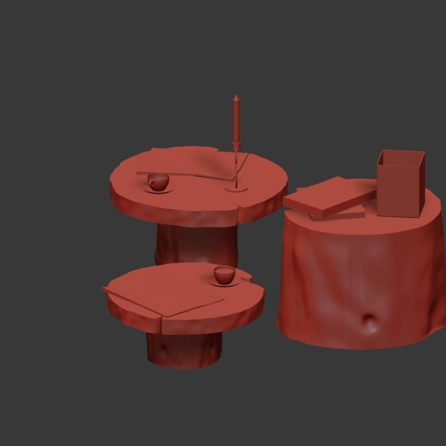 Slab and stump tables royalty-free 3d model - Preview no. 29