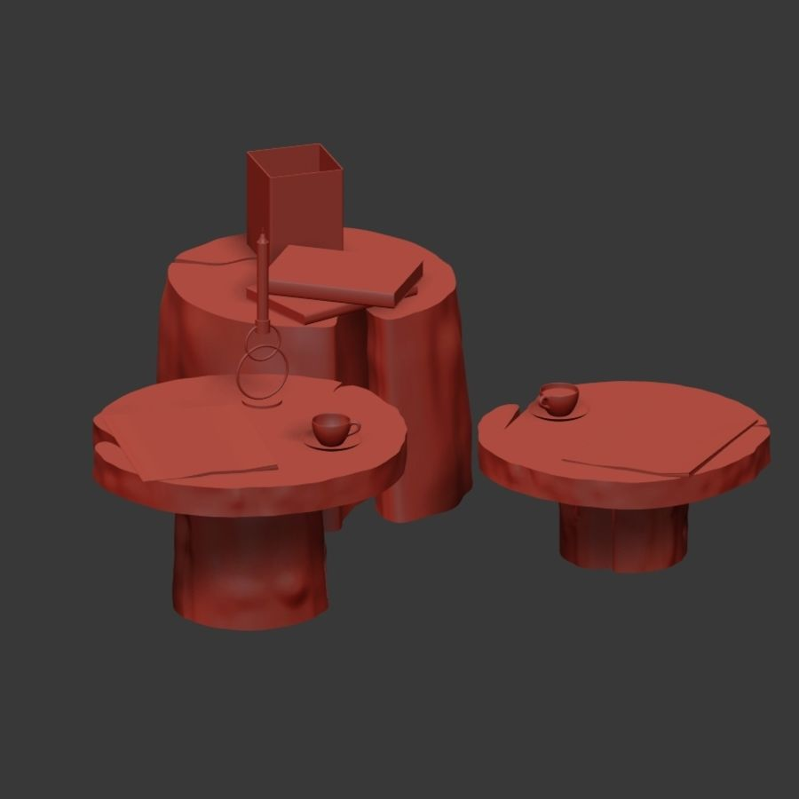 Slab and stump tables royalty-free 3d model - Preview no. 11