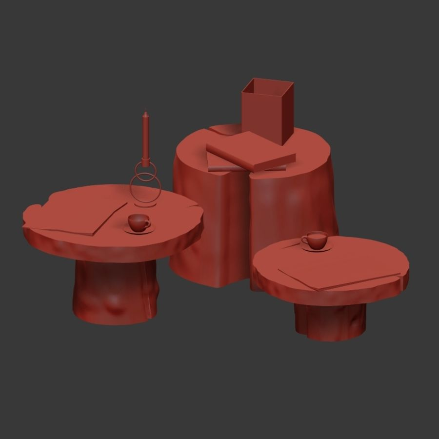 Slab and stump tables royalty-free 3d model - Preview no. 5