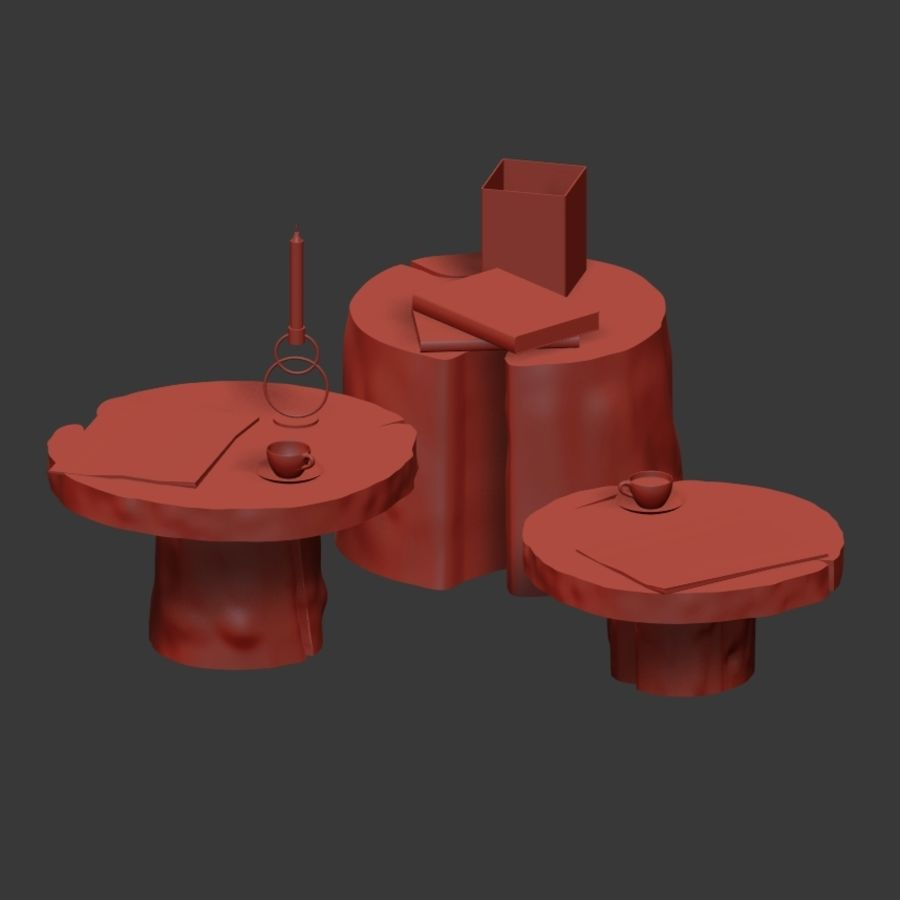 Slab and stump tables royalty-free 3d model - Preview no. 6