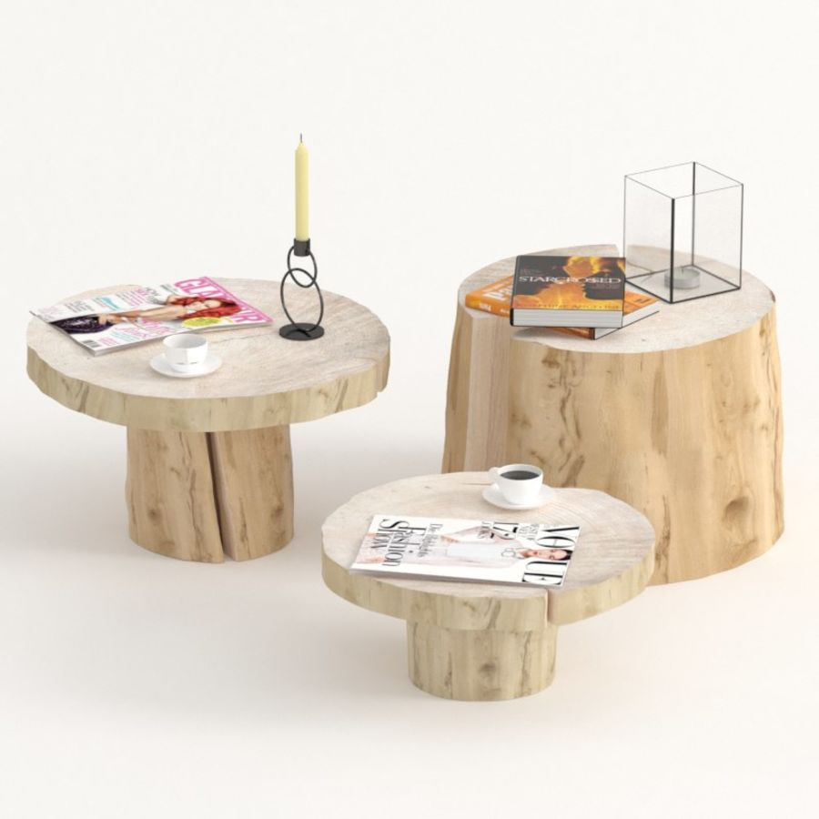 Slab and stump tables royalty-free 3d model - Preview no. 1