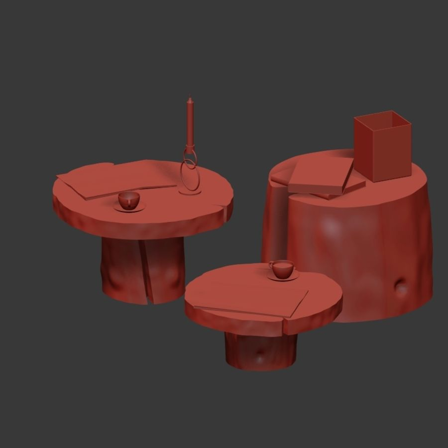 Slab and stump tables royalty-free 3d model - Preview no. 32