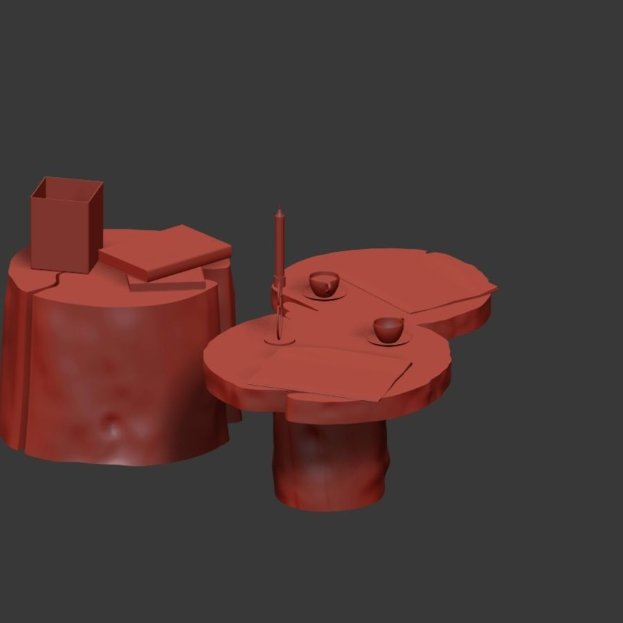 Slab and stump tables royalty-free 3d model - Preview no. 16