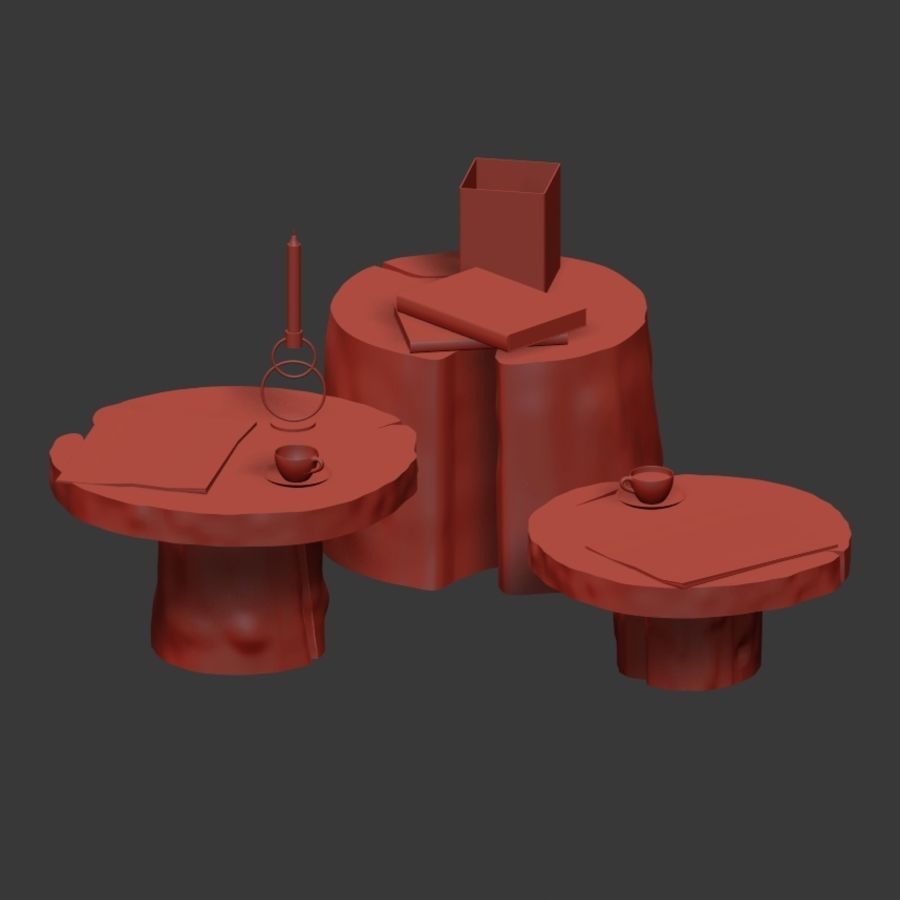 Slab and stump tables royalty-free 3d model - Preview no. 7