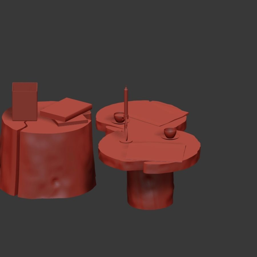Slab and stump tables royalty-free 3d model - Preview no. 17