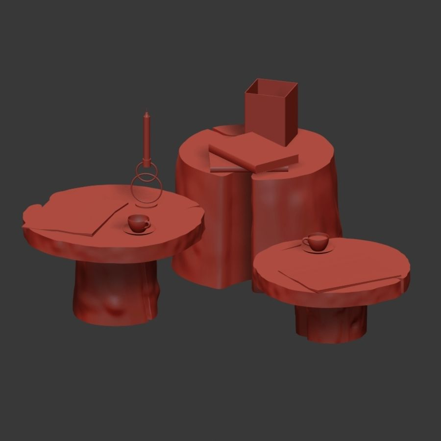 Slab and stump tables royalty-free 3d model - Preview no. 4