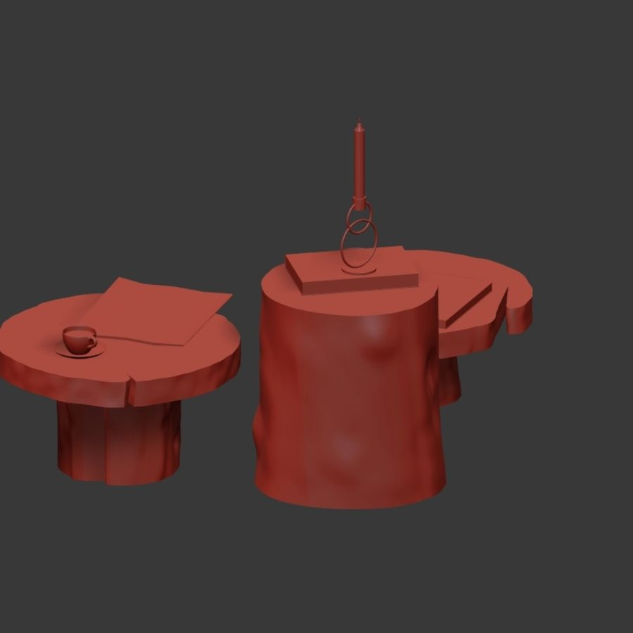 A set of dark tables from stumps and slab royalty-free 3d model - Preview no. 22