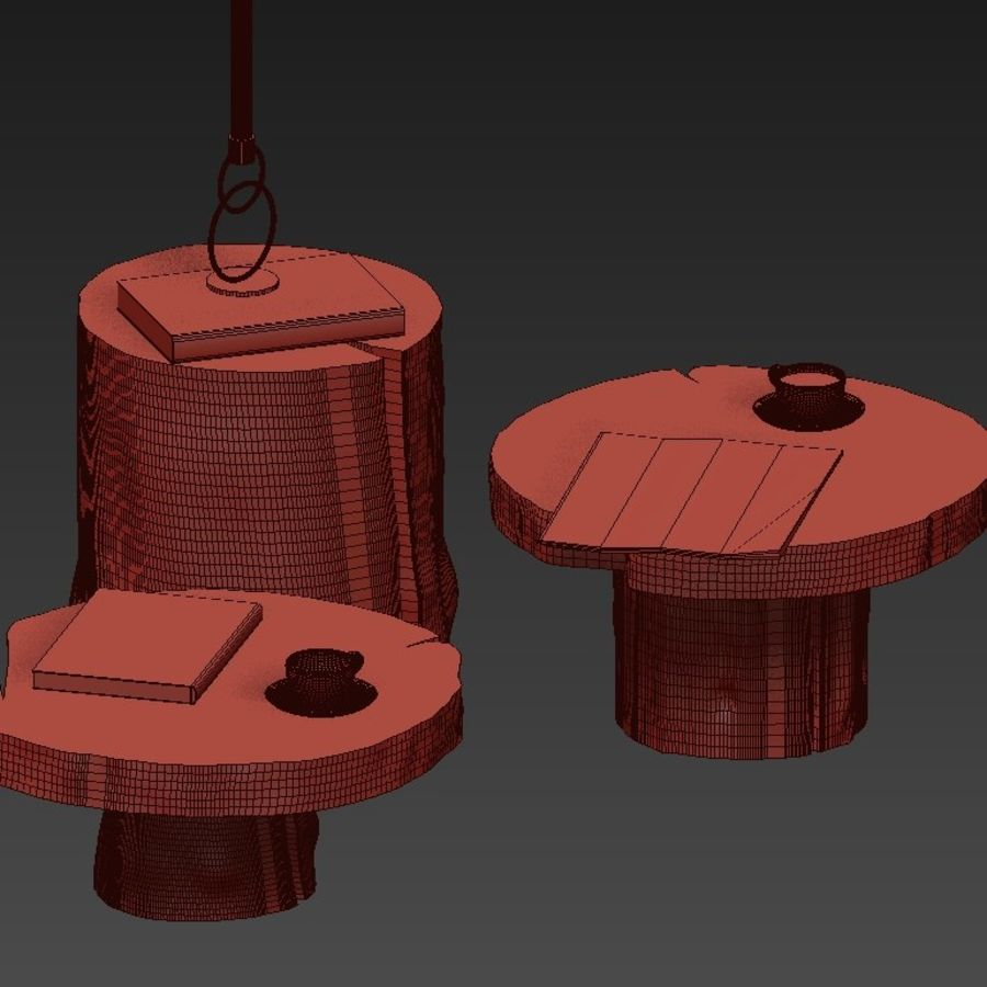 A set of dark tables from stumps and slab royalty-free 3d model - Preview no. 41