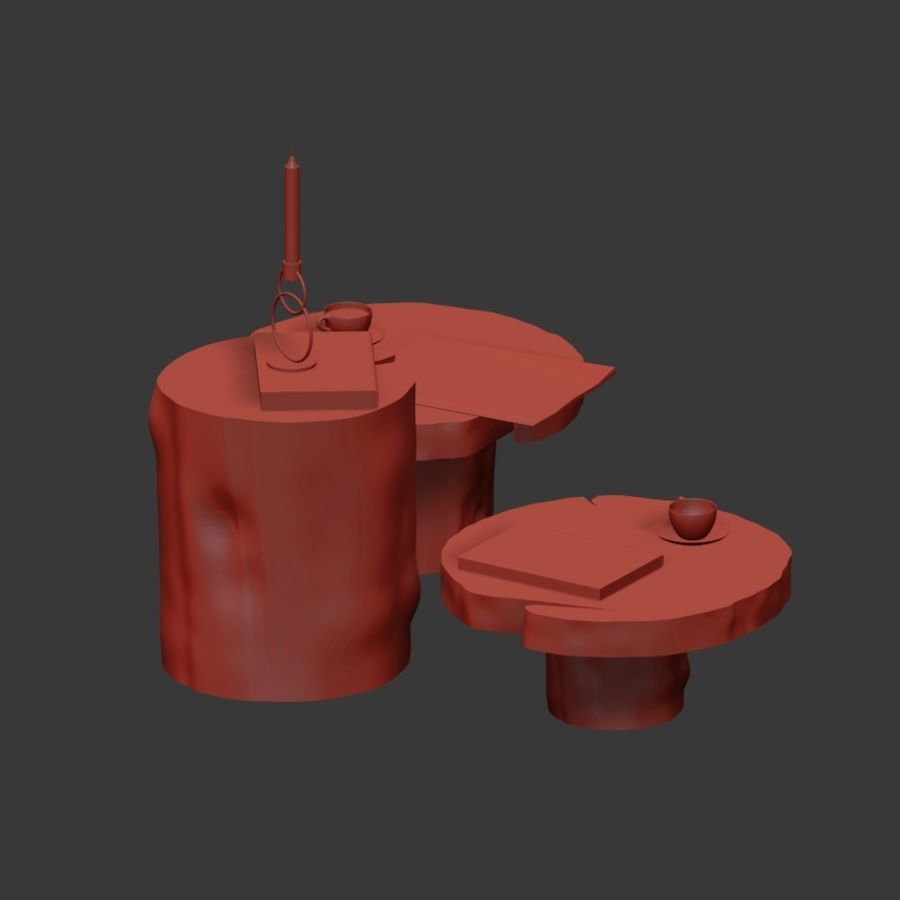 A set of dark tables from stumps and slab royalty-free 3d model - Preview no. 15