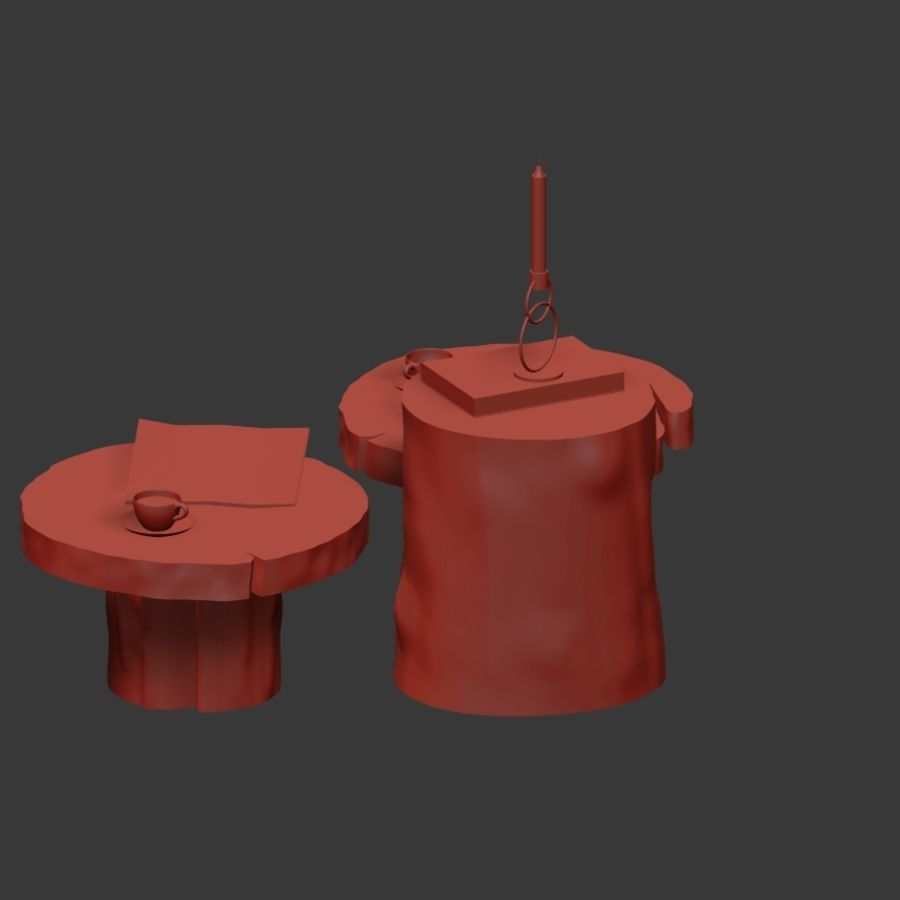 A set of dark tables from stumps and slab royalty-free 3d model - Preview no. 23