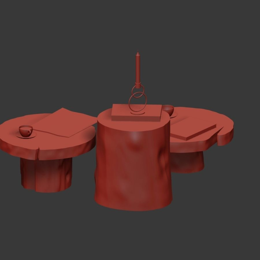 A set of dark tables from stumps and slab royalty-free 3d model - Preview no. 21
