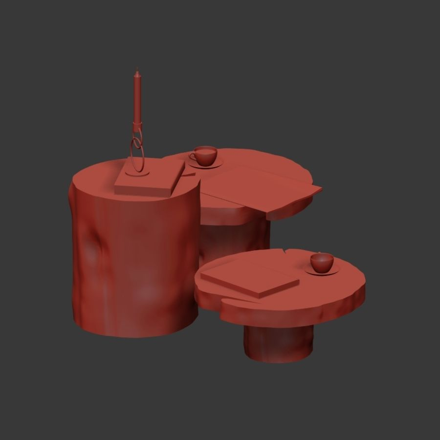 A set of dark tables from stumps and slab royalty-free 3d model - Preview no. 14
