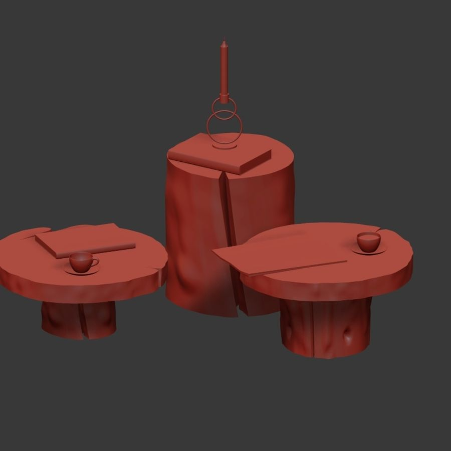 A set of dark tables from stumps and slab royalty-free 3d model - Preview no. 32