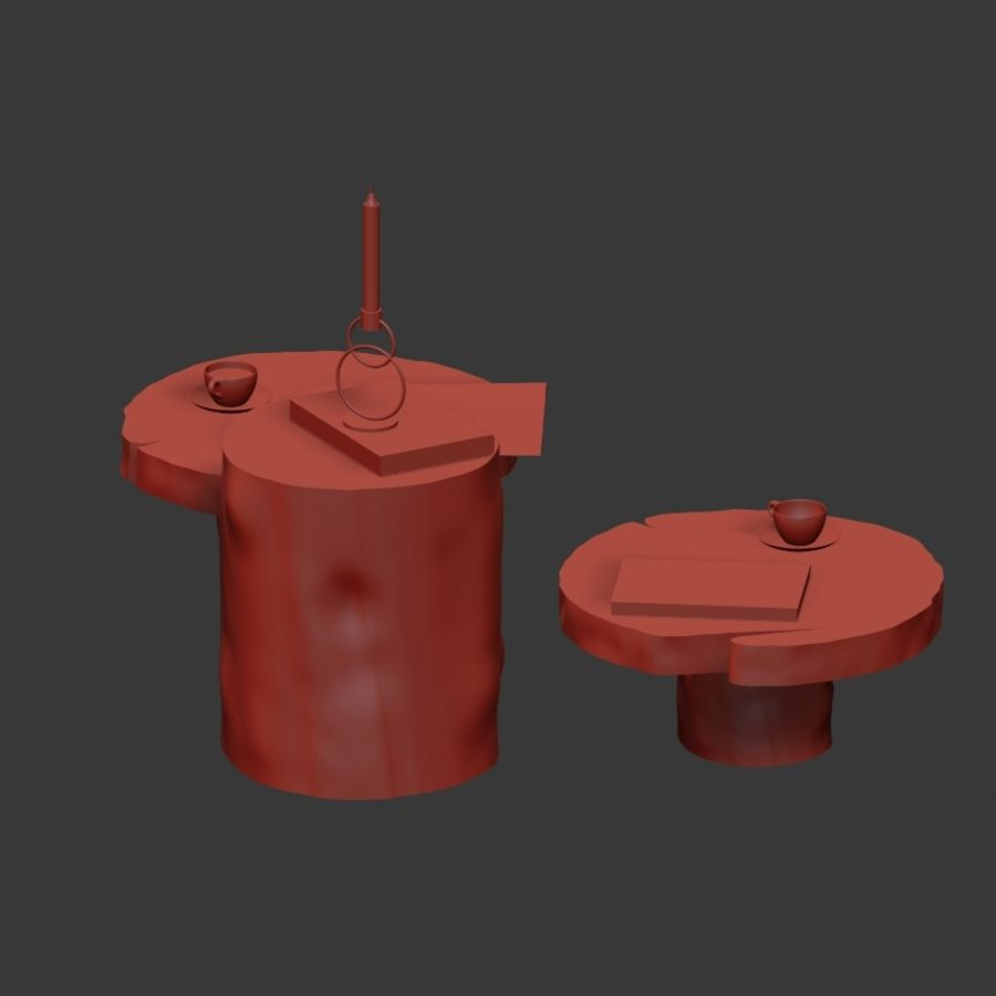 A set of dark tables from stumps and slab royalty-free 3d model - Preview no. 17