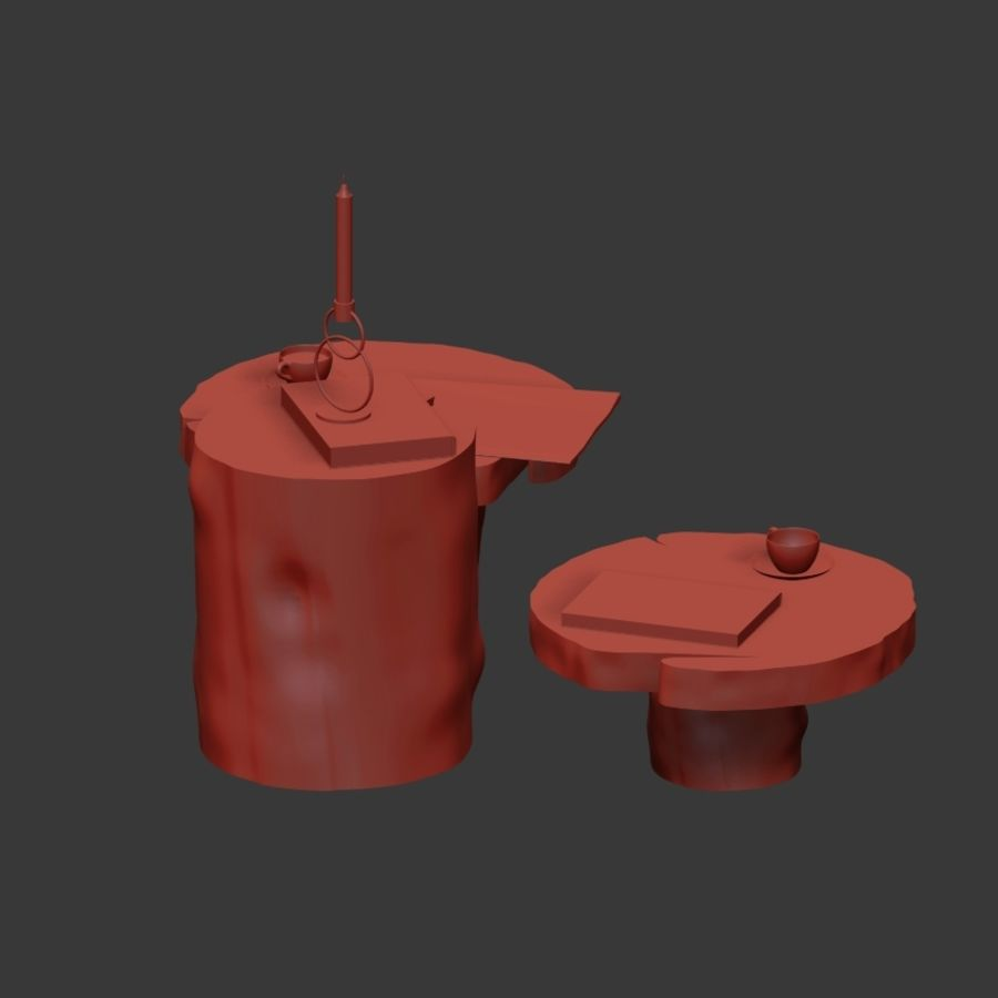 A set of dark tables from stumps and slab royalty-free 3d model - Preview no. 16