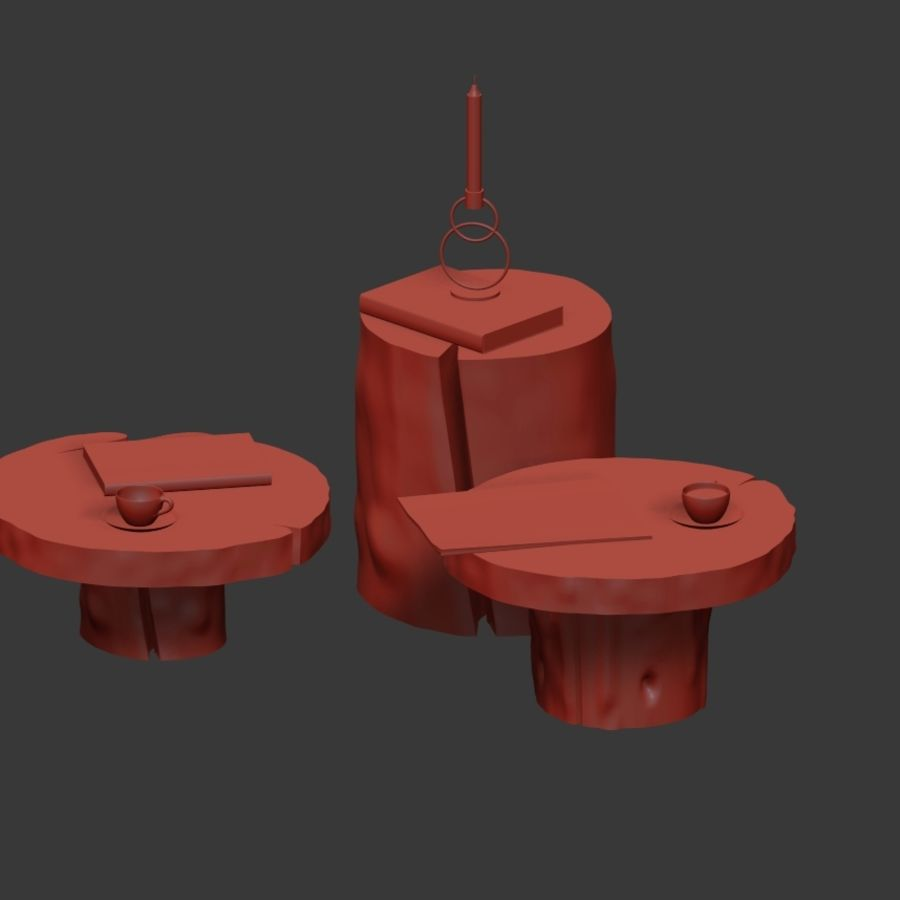 A set of dark tables from stumps and slab royalty-free 3d model - Preview no. 31