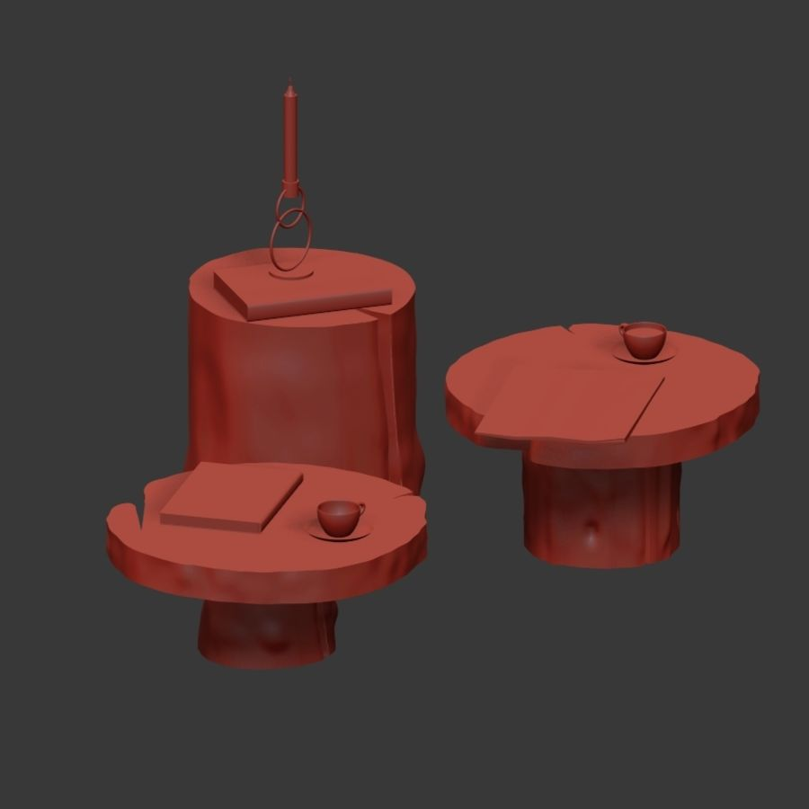 A set of dark tables from stumps and slab royalty-free 3d model - Preview no. 7
