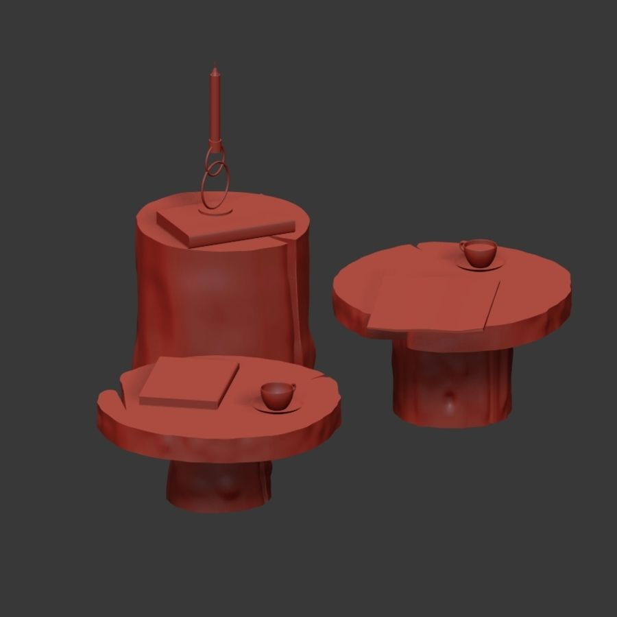A set of dark tables from stumps and slab royalty-free 3d model - Preview no. 8