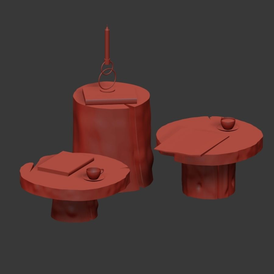A set of dark tables from stumps and slab royalty-free 3d model - Preview no. 37