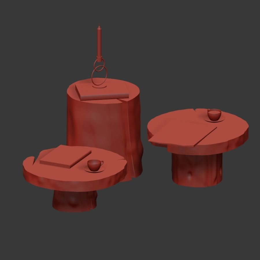 A set of dark tables from stumps and slab royalty-free 3d model - Preview no. 38