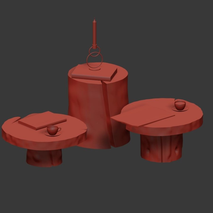 A set of dark tables from stumps and slab royalty-free 3d model - Preview no. 34