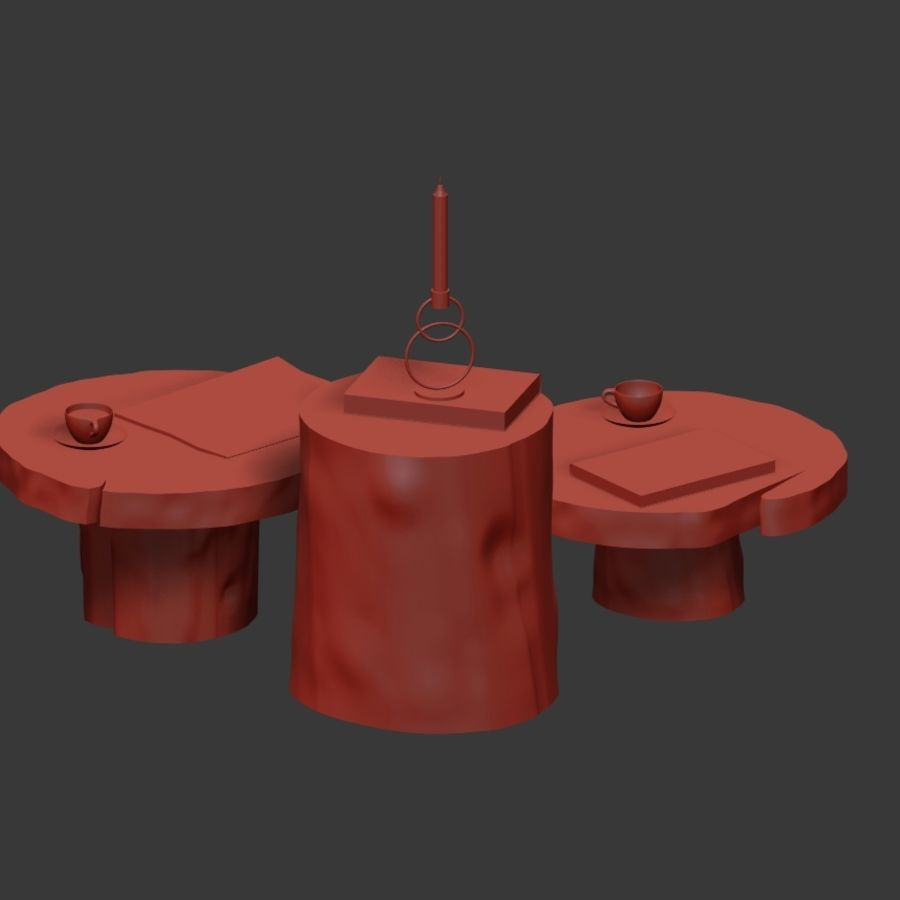 A set of dark tables from stumps and slab royalty-free 3d model - Preview no. 20