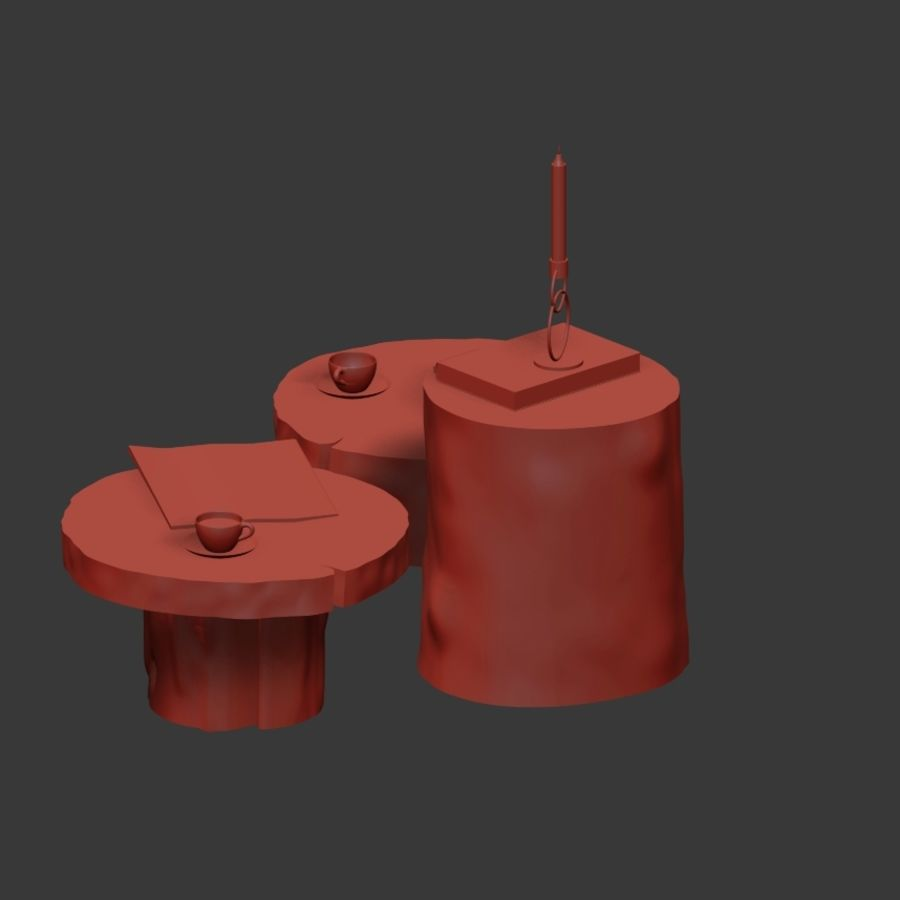 A set of dark tables from stumps and slab royalty-free 3d model - Preview no. 24