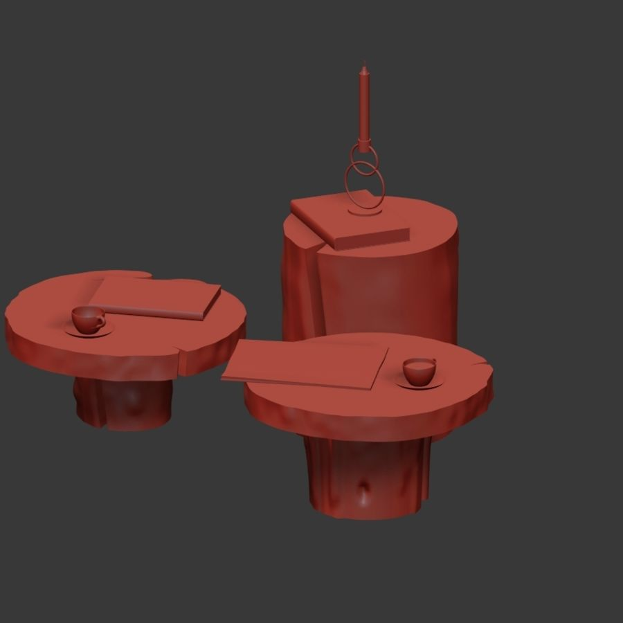 A set of dark tables from stumps and slab royalty-free 3d model - Preview no. 29