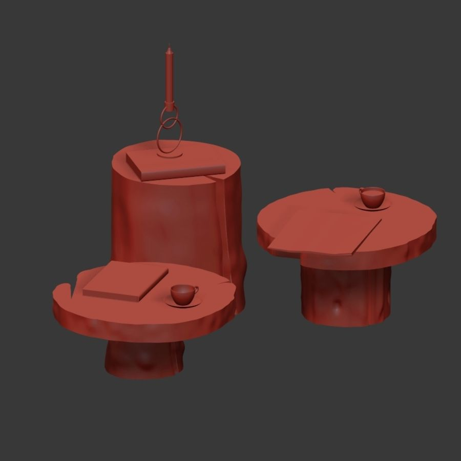 A set of dark tables from stumps and slab royalty-free 3d model - Preview no. 6