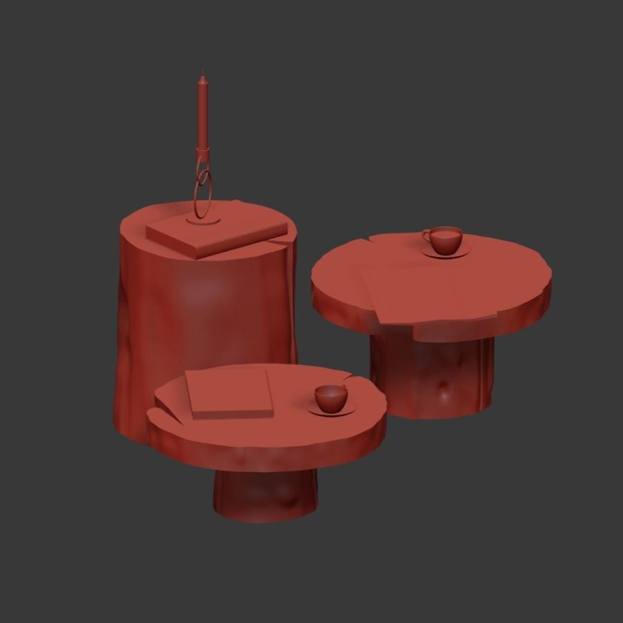 A set of dark tables from stumps and slab royalty-free 3d model - Preview no. 10