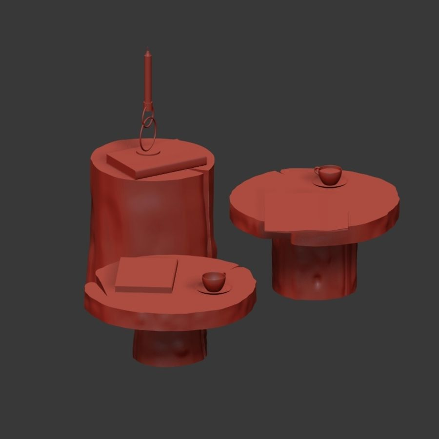A set of dark tables from stumps and slab royalty-free 3d model - Preview no. 9