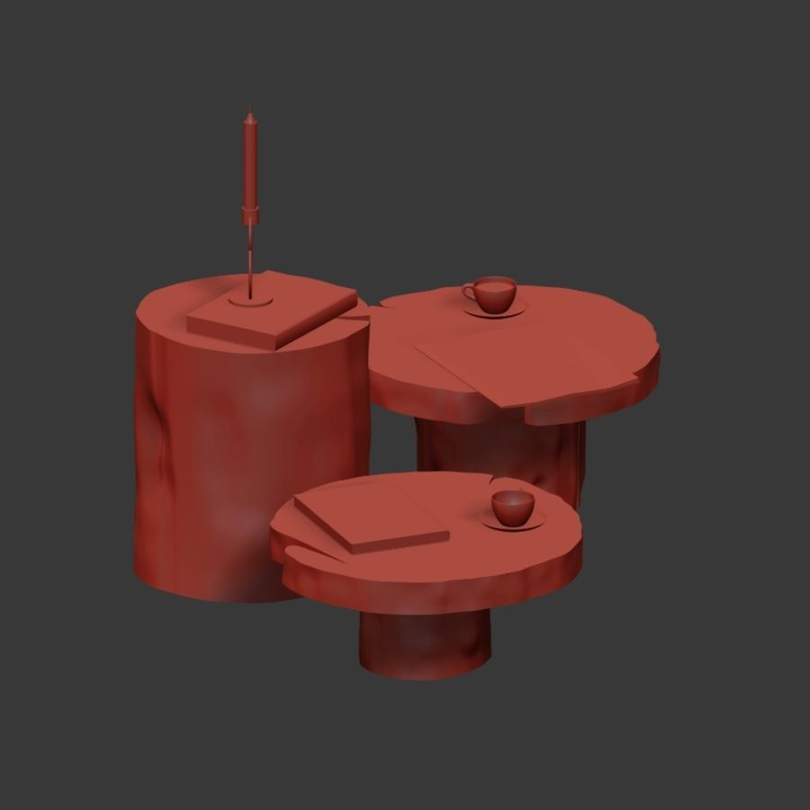 A set of dark tables from stumps and slab royalty-free 3d model - Preview no. 12
