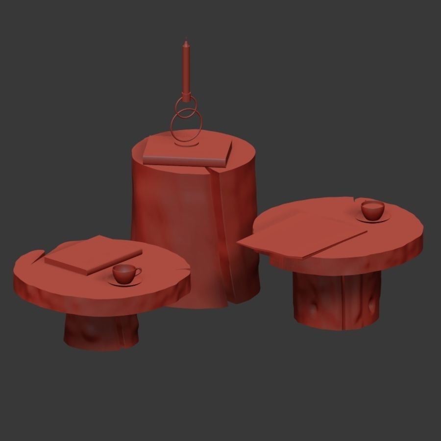 A set of dark tables from stumps and slab royalty-free 3d model - Preview no. 35