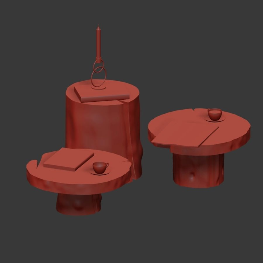 A set of dark tables from stumps and slab royalty-free 3d model - Preview no. 4