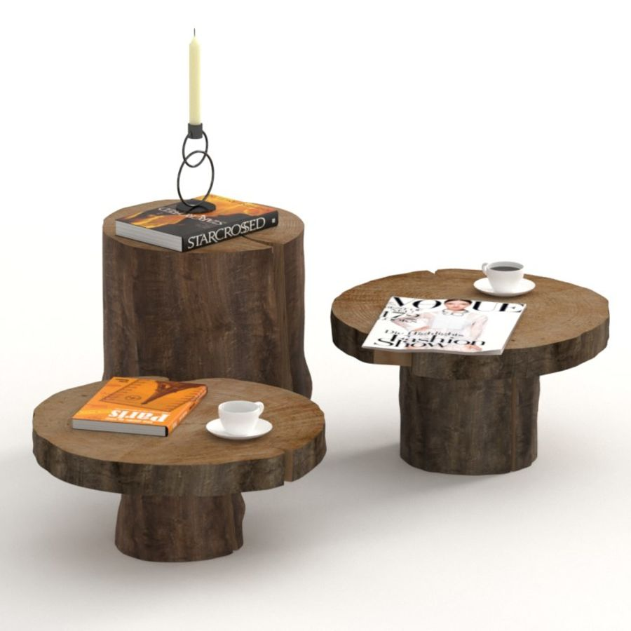 A set of dark tables from stumps and slab royalty-free 3d model - Preview no. 1