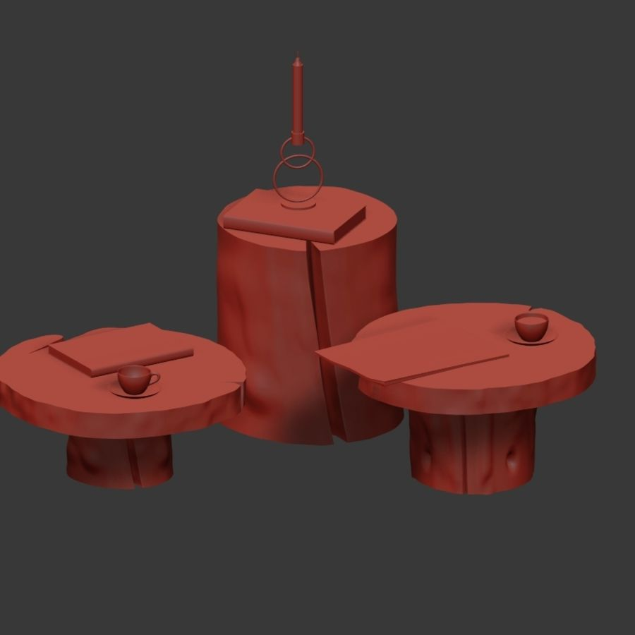 A set of dark tables from stumps and slab royalty-free 3d model - Preview no. 33